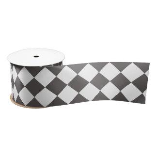 Dark Gray Diamond Pattern Satin Ribbon