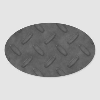 Dark Gray Diamond Plate Texture Oval Sticker