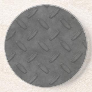 Dark Gray Diamond Plate Texture Sandstone Coaster