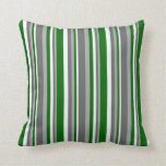 [ Thumbnail: Dark Gray, Dim Gray, Mint Cream & Dark Green Throw Pillow ]