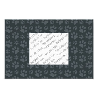 Dark gray dog paw print pattern photo print