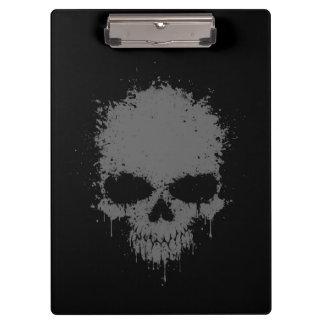 Dark Gray Dripping Splatter Skull Clipboard