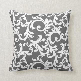 Dark Gray Elegant Damask Pillow