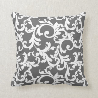 Dark Gray Elegant Damask Throw Pillow