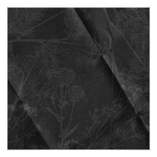 dark gray flower creased poster
