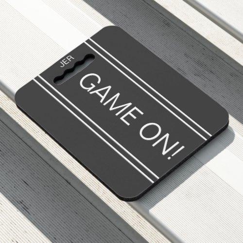 Dark Gray GAME ON Quote Monogrammed Stadium Sports Seat Cushion