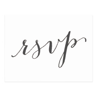 Dark Gray Glamor | Wedding RSVP Postcard