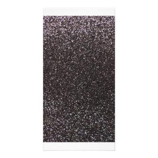 Dark gray glitter personalized photo card