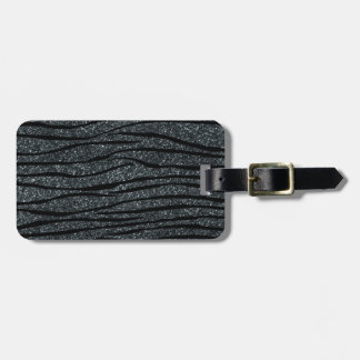 Dark gray glitter zebra stripes bag tag