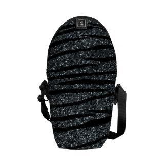 Dark gray glitter zebra stripes courier bags
