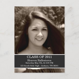 Dark Gray Graduation Class Of Post card Invitation postcard