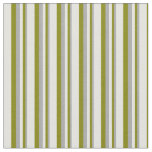 [ Thumbnail: Dark Gray, Green & Light Yellow Colored Stripes Fabric ]