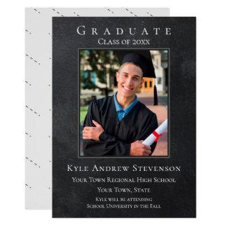 Dark Gray Grunge Graduation Photo Card