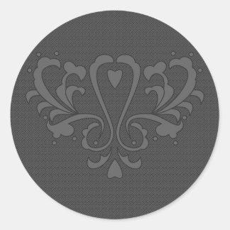Dark Gray Heart Damask Classic Round Sticker