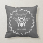 Dark Gray Honey Bee Laurel Honeycomb Monogram Throw Pillow