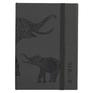 Dark Gray Leather Won-Out Look Floral Elephant Cover For iPad Air