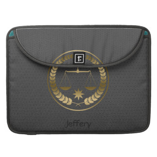 Dark Gray Leather Won-Out Look Justice Symbol MacBook Pro Sleeve
