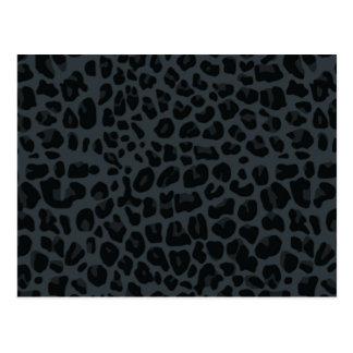 dark gray leopard print pattern postcard