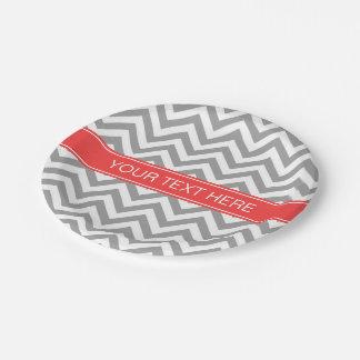Dark Gray Lg Chevron Coral Red Name Monogram 7 Inch Paper Plate