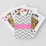 "Dark Gray Lg Chevron Hot Pink #2 Name Monogram Playing Cards<br><div class=""desc"">Dark Gray and White Large Chevron Zig Zag Pattern, Hot Pink #2 Ribbon Name Monogram Label Customize this with your name, monogram or other text. You can also change fonts, adjust font sizes and font colors, move the text, add text fields, etc. Please note that this is a digitally created...</div>"