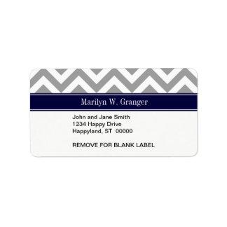 Dark Gray Lg Chevron Navy Blue Name Monogram Custom Address Label