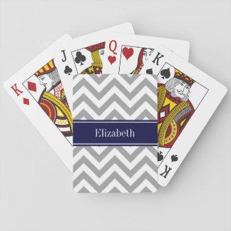Dark Gray Lg Chevron Navy Blue Name Monogram Playing Cards