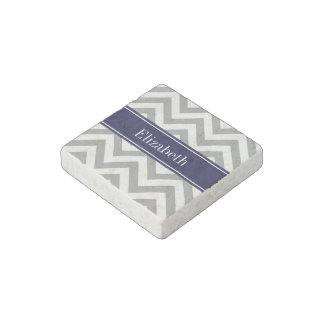 Dark Gray Lg Chevron Navy Blue Name Monogram Stone Magnet
