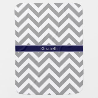 Dark Gray Lg Chevron Navy Blue Name Monogram Stroller Blanket