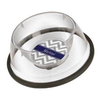 Dark Gray Lg Chevron Navy Blue Name Monogram Pet Bowl