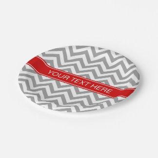 Dark Gray Lg Chevron Red Name Monogram 7 Inch Paper Plate