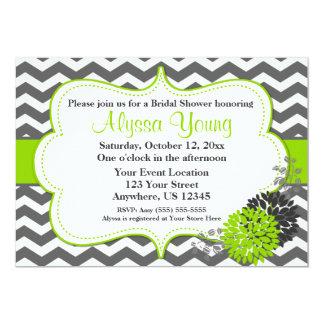 Dark Gray Lime Green Chevron Invitation