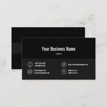 Dark Gray Line Business Icons Black Business Card