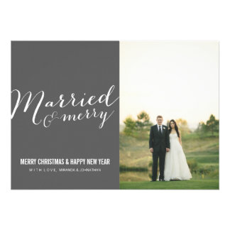 Dark Gray Married Christmas Photo Flat Cards