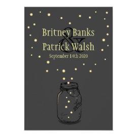 Dark Gray Mason Jar Firefly Wedding Invitations 5