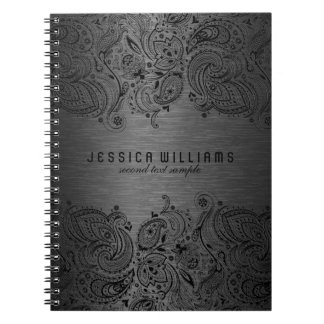 Dark Gray Metallic Background With Black Lace Notebook