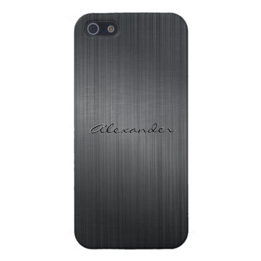 Dark Gray Metallic Brushed Aluminum Look iPhone 5 Cases