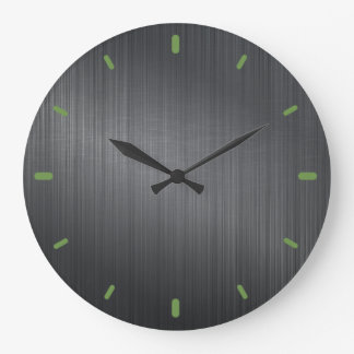 Dark Gray Metallic Design Brushed Aluminum Look Wall Clock