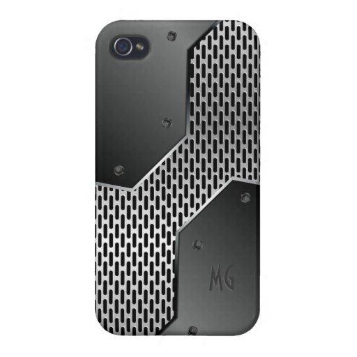 Dark Gray Metallic Look Geometric Pattern. Cases For iPhone 4
