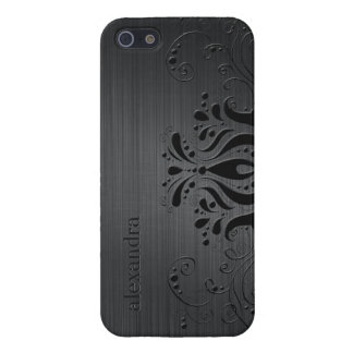 Dark Gray Metallic Texture & Black Vintage Lace 2 iPhone SE/5/5s Cover