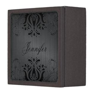 Dark Gray Metallic Texture & Black Vintage Lace Keepsake Box