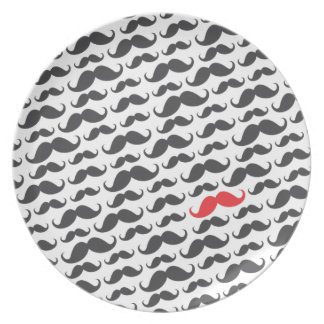 Dark gray mustache pattern with one red moustache party plate