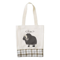 Dark Gray Ox with Curled Horns Zazzle HEART Tote Bag
