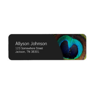 Dark Gray & Peacock Feather Photo Address Labels