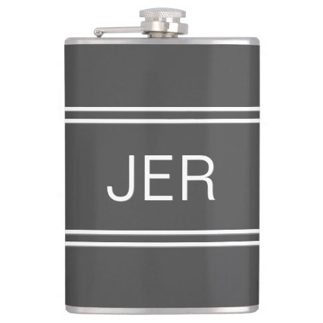 Dark Gray Personalized Monogram Initials Drink Flask