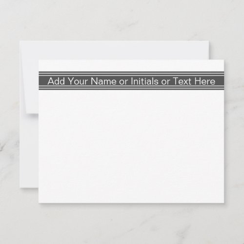 Dark Gray Personalized Monogrammed Name Initials Note Card