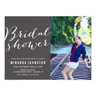 Dark Gray Photo Bridal Shower Invitations