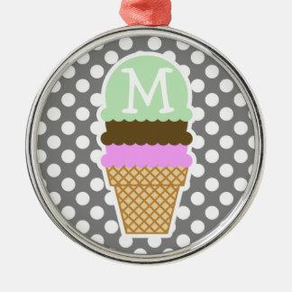 Dark Gray Polka Dots; Ice Cream Cone Metal Ornament