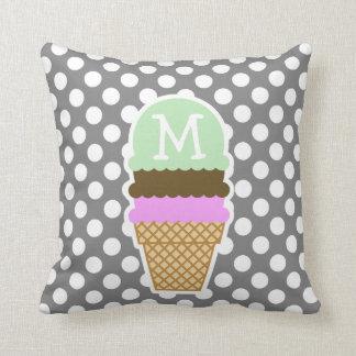Dark Gray Polka Dots; Ice Cream Cone Throw Pillow