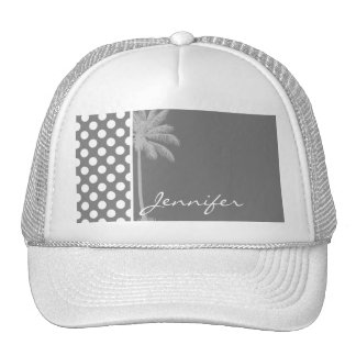 Dark Gray Polka Dots; Summer Palm Trucker Hat
