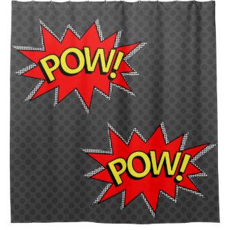 "Dark Gray - ""POW!"" ""POW!""Comic Book Superhero Shower Curtain"